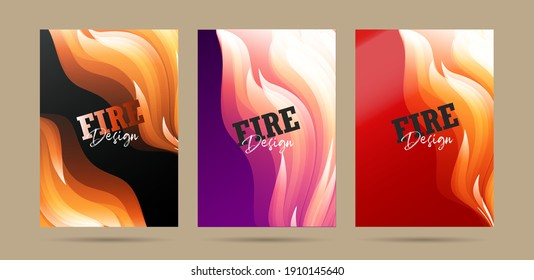 Set of posters with fire abstract graphic forms, fire protection promo or hot party invitation, flyer backdrop