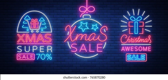 Set of posters, flyers cards on the topic of Xmas sales, Christmas neon style. New year discount. Festive winter sale, neon sign, bright advertising banner, luminous sign. Vector illustration.