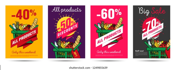 Set of posters for grocery food store with shopping basket illustration and discounts numbers