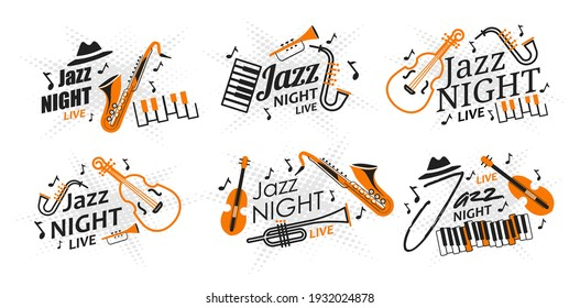 Set of posters jazz night live vector illustration. Invitation to a live jazz and blues concert. Musical instruments and accessories on a star background. Banner for a concert in a jazz club