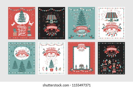 A set of posters or postcards Christmas market, Happy New year and Christmas with festive decor, garlands, gifts, a carousel with horses, Christmas sweets, Christmas trees, socks, gifts, masks