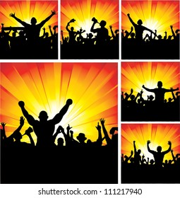Set of posters for sports championships and music concerts