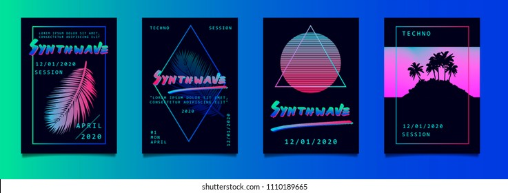 Set of posters in vaporwave/synthwave style, neon aesthetics of 80s.