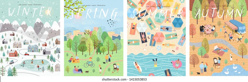 Set of posters for winter, spring, summer and autumn. Cute vector illustration of four seasons. Drawings of people, nature, trees, park and beach