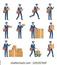 Set of postman characters posing with various parcel boxes. Mailman holding package, pointing to box, running, walking and showing other actions. Flat design vector illustration