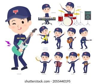 A set of postman playing rock 'n' roll and pop music.It's vector art so easy to edit.