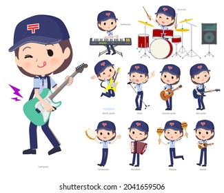 A set of  postwomen playing rock 'n' roll and pop music.It's vector art so easy to edit.