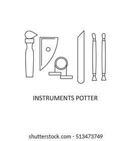 Set potter's tools. Craft. Vector illustration.