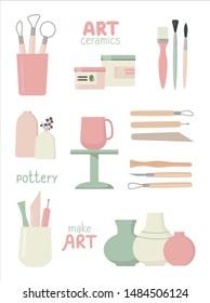 Set of pottery tools. Motivational lettering. Vector illustration.