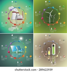 Set of  power plants vector image. Green industry infographic