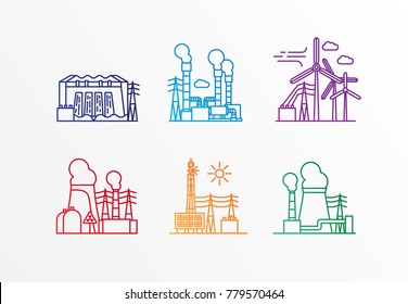 Set of power station icons. Vector trendy lineaar style. Ecology concept. Nuclear geothermal wind solar hydro and thermal power plants.