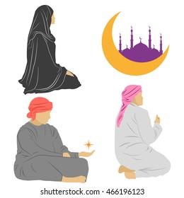 Set praying Arab man and  Arab woman, emblem for Islamic sacred holiday Ramadan. Vector illustration