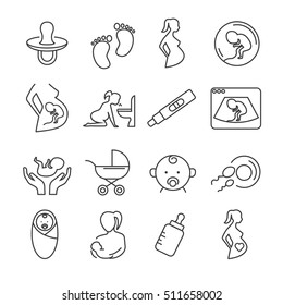 Set of pregnancy and childbirth Related Vector Line Icons. Includes such Icons as a pregnant woman, a child in the womb, morning sickness, breast feeding, ultrasound, pacifier