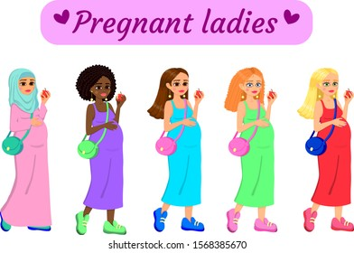 Set of pregnant international ladies. Each has an apple in her hand, and a hand on her stomach. Beautiful colorful picture. On a white isolated background. Vector and illustration.