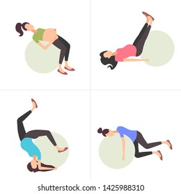 set pregnant woman on gymnastic ball girl doing exercises with fitball collection workout fitness pregnancy healthy lifestyle concept full length flat