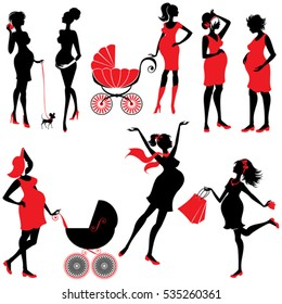 Set of  pregnant woman Silhouettes in black and red colors, isolated on white background. Elements for Life style design. Walking with buggy, shopping, chatting.
