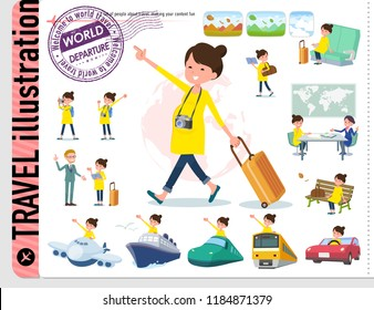 A set of Pregnant women on travel.There are also vehicles such as boats and airplanes.It's vector art so it's easy to edit.