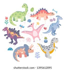 Set of prehistoric animals triceratops, t-rex, pteranodon, spinosaurus, stegosaurus, velociraptor, parasaurolophus. Vector flat hand drawn dinosaurs for kids book, posters, textile.