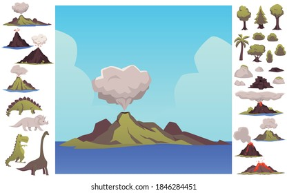 Set of prehistoric earth elements including dinosaurs and volcano. Volcano landscape and nature of the Mesozoic era flat vector illustration isolated on white background.