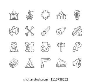Set of Prehistoric outline icons isolated on white background. Editable Stroke. 64x64 Pixel Perfect.