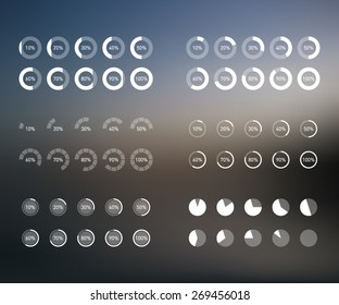 Set of preloaders bars over blurred background, flat style. User interface, mobile, smartphone, tablet, PC, technology. Simple and clean design