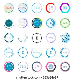 Set of Preloaders - for loading items. Progress loading icons. Downloading bars for web interface, sites and mobile application - Stock Vector