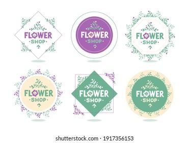 Set of Premade Logo in Trendy Hand Drawn Style - Emblem for Flower Shop, spa, beauty salon, organic shop, interior, wedding. Floral elements. Vector illustration
