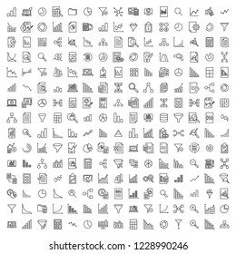 Set of premium analytic icons in line style. High quality outline symbol collection of data. Modern linear pictogram pack of statistics. Stroke vector illustration on a white background.