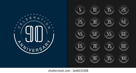Set of premium anniversary logotype. Modern anniversary celebration emblem design for company profile, booklet, leaflet, magazine, brochure, web, invitation or greeting card. Vector illustration.