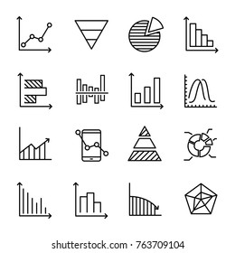 Set of premium diagram icons in line style. High quality outline symbol collection of graph. Modern linear pictogram pack of chart. Stroke vector illustration on a white background.