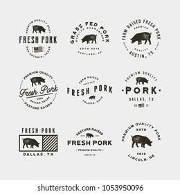 set of premium fresh pork labels. retro styled meat shop emblems, badges, design elements, logotype templates. vector illustration