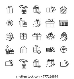 Set of premium gift icons in line style. High quality outline symbol collection of present. Modern linear pictogram pack of surprise. Stroke vector illustration on a white background.