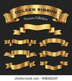 Set of premium golden ribbons for your design. Vector illustration
