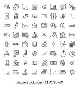 Set of premium investments icons in line style. High quality outline symbol collection of money. Modern linear pictogram pack of finance. Stroke vector illustration on a white background.