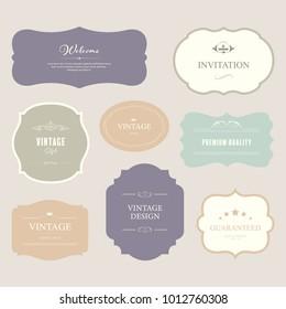 Set of premium label for design vintage style. Banner vector.