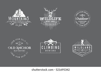 Set of premium labels on the themes of wildlife, hunting, travel, wild nature, climbing, camping, life in the mountains, survival. Retro, vintage, casual design. #13