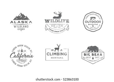 Set of premium labels on the themes of wildlife, nature, hunting, travel, wild nature, climbing, camping, life in the mountains, survival. Retro, vintage, casual design. #10