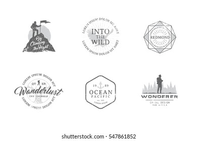 Set of premium labels on the themes of wildlife, nature, hunting, travel, wild nature, climbing, camping, life in the mountains, survival. Retro, vintage, casual design. #26