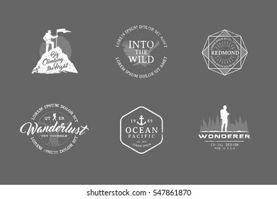 Set of premium labels on the themes of wildlife, nature, hunting, travel, wild nature, climbing, camping, life in the mountains, survival. Retro, vintage, casual design. #27