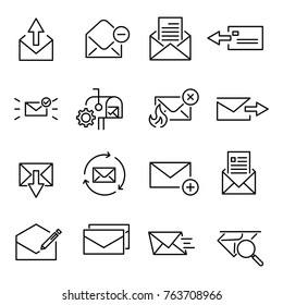 Set of premium letter icons in line style. High quality outline symbol collection of mail. Modern linear pictogram pack of period. Stroke vector illustration on a white background.