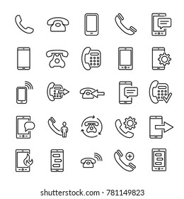 Set of premium phone icons in line style. High quality outline symbol collection of mobile. Modern linear pictogram pack of telephone. Stroke vector illustration on a white background.