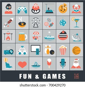Set of premium quality fun and games icons. Collection of vector icons for games, fun, leisure, sport, hobby, free time.