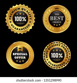 Set of premium quality golden labels with wreath element isolated on white background - vector