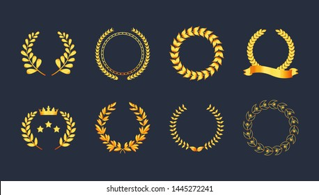 Set premium quality golden laurel wreath gold silhouette leaves foliate, wheat, olive with ribbons, crown vector symbol, logo. Award golden badge, medal, for achievement, heraldry, nobility, game