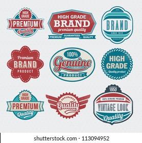 Set of premium quality guarantee labels and badges - retro design
