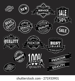 set of premium quality labels, vector illustration, clip-art