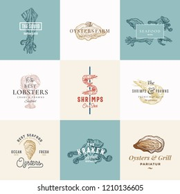 Set of Premium Quality Retro Seafood Vector Signs or Logo Templates. Hand Drawn Vintage Sketches with Classy Typography, Shrimp, Oyster, Squid, Octopus. Great Restaurant and Cafe Emblems. Isolated.
