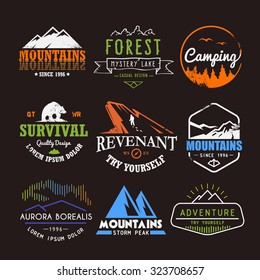 Set of premium vector labels on the themes of wildlife, nature, hunting, travel, wild nature, climbing, life in the mountains, survival. Retro, vintage, casual design. #3