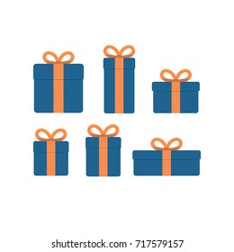 Set of present boxes different sizes. Flat design vector illustration.