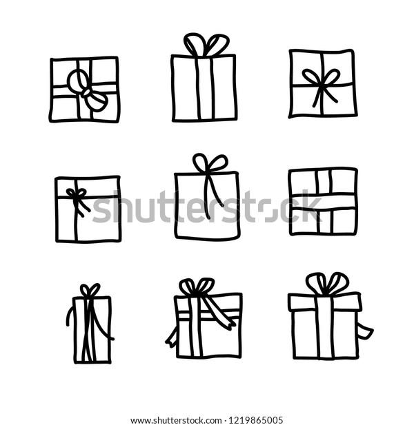 Christmas Gift Box Drawing.Set Present Christmas Gift Box Handdraw Stock Vector